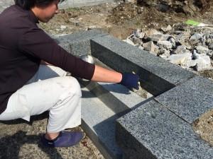 大月市内寺院墓地 高圧洗浄後 防水(ストーンコート)加工
